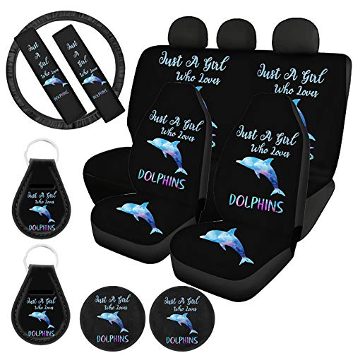 ZFRXIGN Cute Dolphin Car Seat Covers Full Set for Women Girls Car Front Seat Protector Cover+ Rear Seats Bench Cushion with Steering Wheel Cover, Seat Belt Pads, Keyring, Coasters Auto Accessories