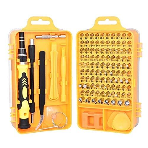 FAOAOTT Juego de Destornilladores 115 en 1 Destornillador Profesional Kit de Herramientas de reparación multifunción para teléfono móvil/Tableta/pc con Mango Doble (Color: Amarillo)