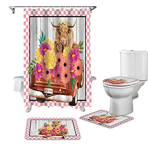 4 Piece Shower Curtains with Mat Set, Highland Cattle and Farm Blooming Floral, Non Slip Bath Mat Waterproof Bathtub Curtain with Hooks Red Pickup Truck Pink Check (36x72 Inch Small Rugs Set)