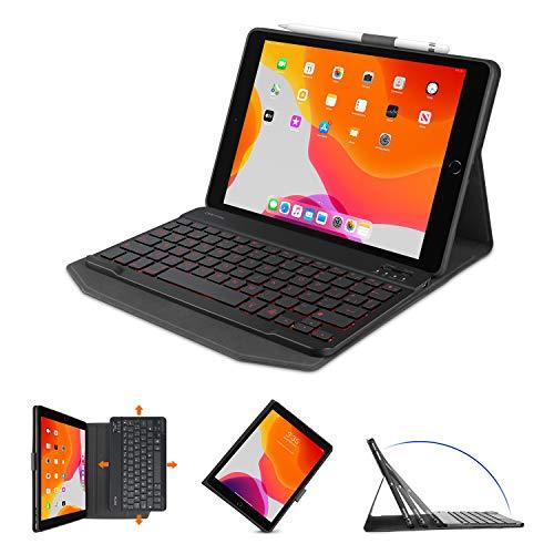 OMOTON Capa para teclado para iPad 10.2 8/7ª geração 2020, retroiluminada em 7 cores, capa para teclado de couro sintético destacável fina para iPad 10,2 polegadas/iPad Air 3ª geração de 10,5 polegadas 2019/iPad Pro 10,5 polegadas 2017, preta