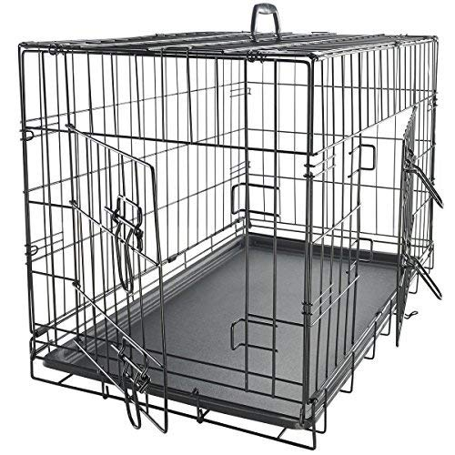 Dog Crates for Extra Large Dogs - XL Dog Crate 42' Pet Cage Double-Door Best for Big Pets - Wire Metal Kennel Cages with Divider Panel & Tray - in-Door Foldable & Portable for Animal Out-Door Travel