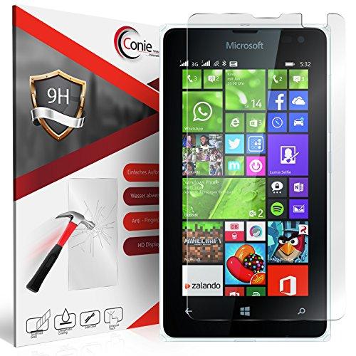 Conie 9H1948 9H Panzerfolie Kompatibel mit Microsoft Lumia 532, Panzerglas Glasfolie 9H Anti Öl Anti Fingerprint Schutzfolie für Lumia 532 Folie HD Clear