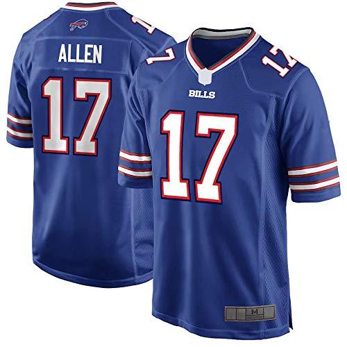 WOPOO Jungen Trikot 17# American Football Josh Allen Bills Jersey Fans Sportswear BuffaloEmbroidered Print Top Kurzarm - Blau