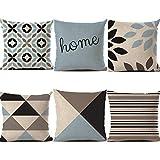 HBOS 6Pcs Federa Cuscini 45x45 cm Lino Fodere per Cuscini Divano Decorate per Sofa Office, Cuscino Interno Escluso (Stile 1)