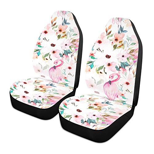 Juego de 2 fundas para asiento de coche con estampado floral Flamingo, asientos delanteros solo para coches, manta de sillín delantero, ajuste universal para vehículo, sedán, SUV y camión, interior d