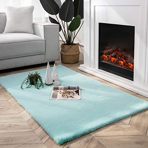 Ashler - Funda de sofá de piel sintética ultra suave, para recámara, piso, sofá, salón, color turquesa, 3 x 5 pies