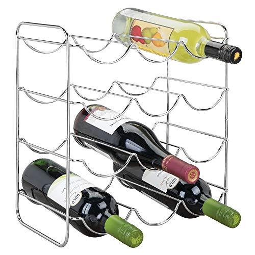 mDesign Portabottiglie Vino per Cucina, frigo o dispensa – Porta Bottiglie in Metallo per Massimo 12 Bottiglie – Cantinetta Ideale per Vino, Birra e liquori – Argento