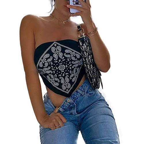 N /C Mujeres Bandana Crop Top Negro Sexy Paisley Halter Streetwear Crop Tube Top Camisas (Negro, S)