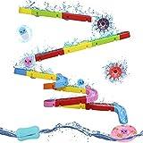 Nuheby Badewannenspielzeug Badespielzeug Baby Spielzeug Badewanne ab 3 4 5 Jahre,Murmelbahn Wasserspielzeug Kinder mit Saugnäpfe,BAU-Puzzle Autorennbahn Badespaß Geschenk Mädchen Junge (38 Stück)