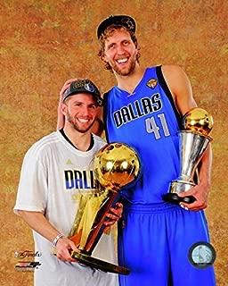 Dirk Nowitzki & Jose Juan Berea with the 2011 NBA Championship & MVP Trophies Game 6 of the 2011 NBA Finals Photo Print (8 x 10)