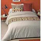 Funda nórdica Puebla, diseño étnico, marrón claro, para adulto, 220 x 240 cm, 2 personas, 100% algodón