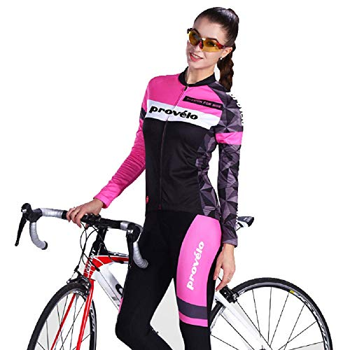 Pro Velo Women's Cycling Jersey Set Long Sleeve Road Bike Clothing Mountain Ricing Bicycle Wear (Black, Large)…