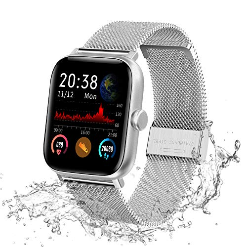 Lucky-M Smart Watch 1.54' Full Touch Screen Smartwatch per iOS Android, Fitness Tracker Impermeabile IP68 Uomini Donne Bluetooth Activity Tracker (Argento)