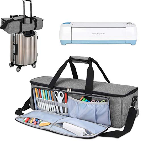 Luxja Carrying Bag Compatible with Cricut Die-Cutting Machine and Supplies, Tote Bag Compatible with Cricut Explore Air (Air2) and Maker (Bag Only, Patent Pending), Gray