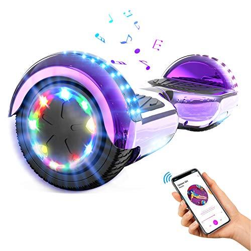 GEARSTONE Hoverboard monopatín con Bluetooth e iluminación LED 6,5 Pulgadas Scooter eléctrico...