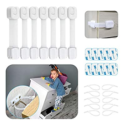 Cabinet Locks for Babies - 30 Pcs Baby Proofing Kit, 10 Child Cabinet Locks with 10 Extra 3M Adhesives, Multi-Purpose for Kitchen, Toilet, 10 Furniture Straps & Anchors for Dresser, Bookshelf