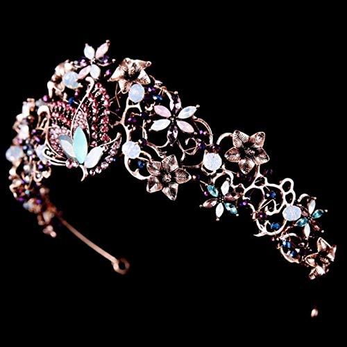 KEEBON Barroco Vintage Mariposa Rhinestone Pendientes de Corona Europea y Americana Tocado Vestido de Boda Accesorios de joyería Nupcial Pulseras Pendientes Anillos Collares