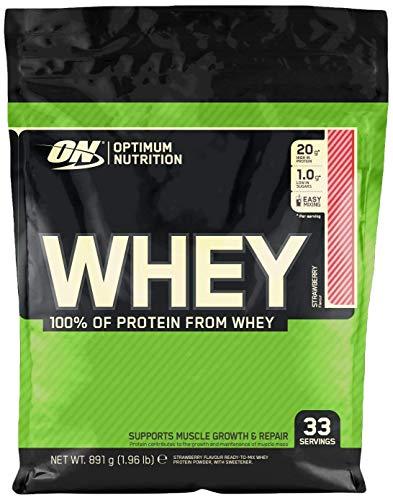 Optimum Nutrition ON Whey Proteina Isolate, Proteinas Whey en Polvo, Proteina de Suero para Masa Muscular y Musculacion, Bajo en Azúcar, Fresa, 33 Porciones, 891g