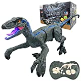 BLUELF Remote Control Dinosaur Toy for Kids Boys, RC Dinosaur Walking Robot Dinosaur with LED Light and Roaring, 2.4Ghz Simulation VelociraptorToys for Boys 3, 4, 5, 6, 7 8 9 Years Old Kids