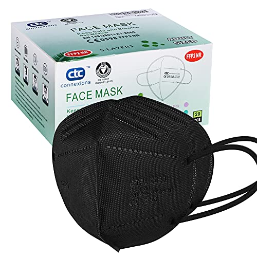 ctc connexions FFP2/KN95 5-Layer Protective Face Mask, CE certified, Black (20pcs/box, each in individual pack)