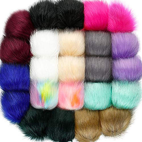 24 Pieces Faux Fur Pom Pom Balls with Elastic Loop DIY Faux Fur Fluffy Pompoms Ball with Rubber Band Knitting Accessories for Hats Shoes Scarves Bags Keychain Charms (Bright Color)