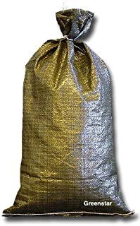Military Sand bags Deluxe Quality - 10 Sandbags, Polypropylene Empty Heavy Duty Green poly (10)