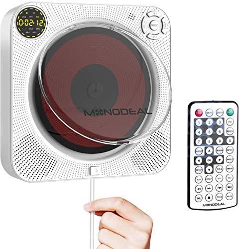 ALTENG CDプレーヤー ポータブル cdプレーヤー CDウォークマン 卓上&壁掛け式 リモコン付き 防塵カバー付き LCDディスプレイ スピーカー 2400mAh充電バッテリー 大音量 HDMI/USB/AV出力 語学学習 音楽再生 胎児教育 卓上スタンド付き イヤホンジャック対応 日本語説明書 ホワイト 1年の保証期付き