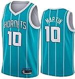 ZMIN Jersey de Baloncesto Charlotte Hornets # 10 Camiseta sin Mangas de Martin Baloncesto, Jersey de Tela Comfort Vintage,Azul,S
