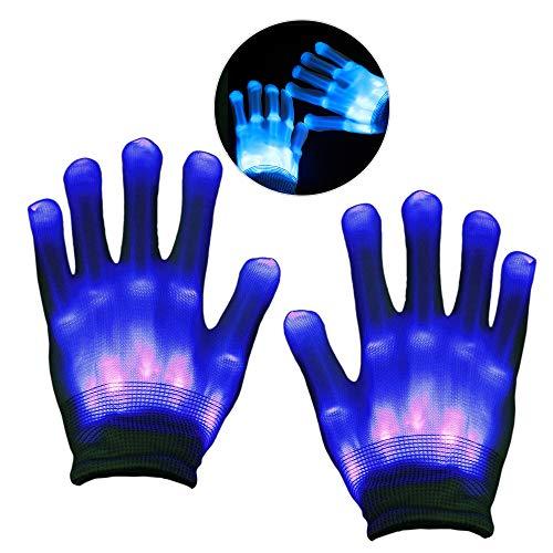 KITY 3-11 Jährige Jungen Spielzeug,Handschuhe LED Jungen Geschenke 4-10 Jahre Skelett Beleuchtung Blinkt Finger Begeisterte Spielzeug 2019 Verbessert Auflage Maskerade(Blau)