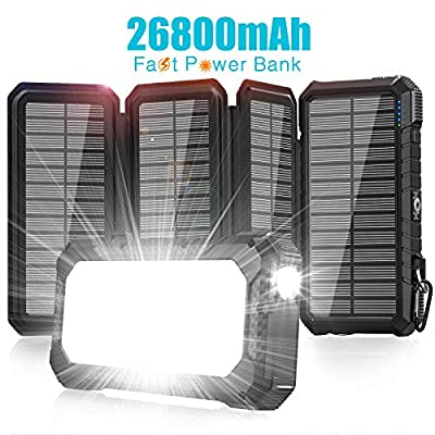 Amazon - Save 20%: Solar Charger 26800mAh-Power Bank,18W QC3.0 Fast Charger 3A Outdoor…