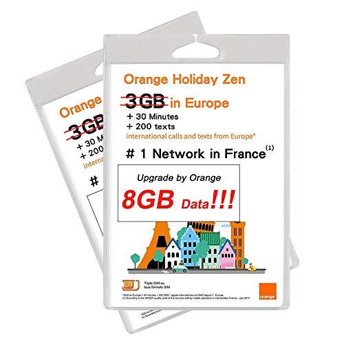 Orange Holiday Europe Prepaid SIM Card 8GB Internet Data in 4G/LTE...