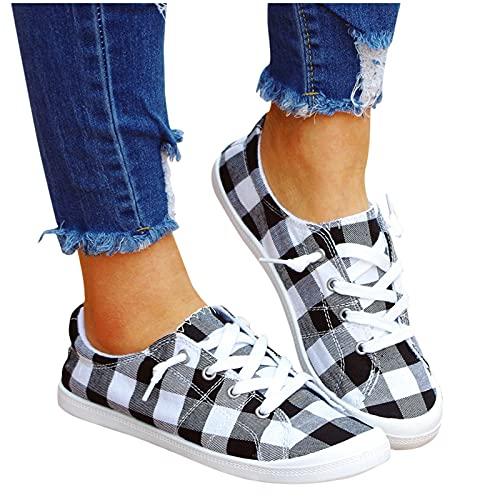 Qiuday Unisex Damen Herren Sneaker Low Top Bequeme Leinenschuhe Flache Schuhe mit modischem Print Loafers Schuhe Frauen Beiläufige Schuhe Sommer Herbst Turnschuhe