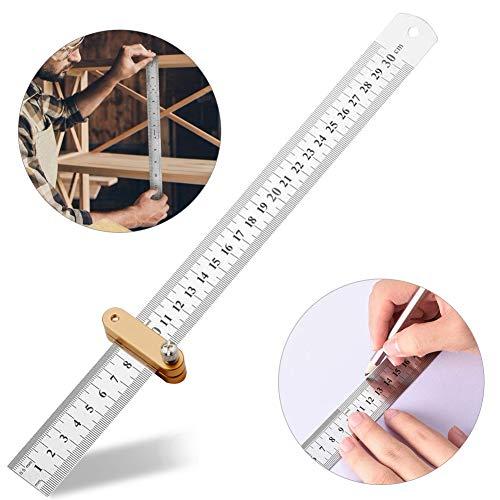 Edelstahl Lineal 30cm,Anreisswerkzeug mit extra stabilem Lineal,Paralleles Lineal für die Holzbearbeitung,Stahllineal Positionierblock T-Lineal Holzbearbeitungswerkzeug