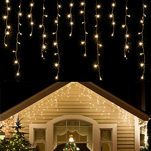 WATERGLIDE 360 LED Christmas Icicle Lights Outdoor Dripping Icicle String Light, 29.5ft 8 Modes Curtain Fairy Lights with 60 Drops, Indoor Xmas Holiday Wedding Party Decorations, Warm White