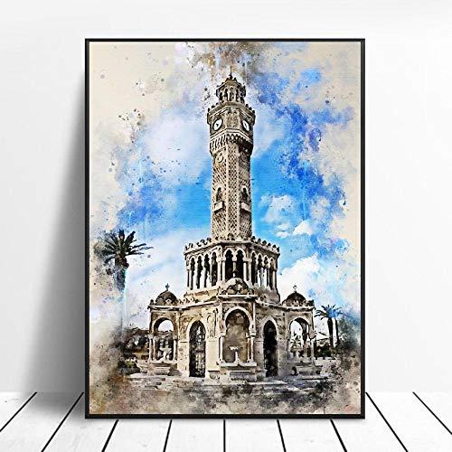 MYSY Izmir in Aquarell Leinwand Malerei Wandkunst Bilder druckt Wandplakat für Wohnzimmer Schlafzimmer Dekor-50x70cmx1 Stück kein Rahmen
