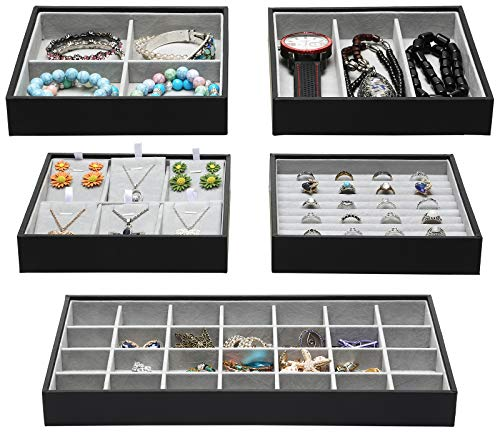 Magic Stackable Jewelry Trays Closet Dresser Drawer Organizer for Accessories Gadgets Cosmetics Storage Display Showcase Holder Box Set of 5