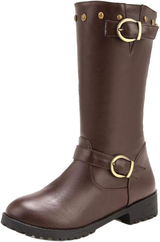 Women Low Heel Engineer Boots Pull On