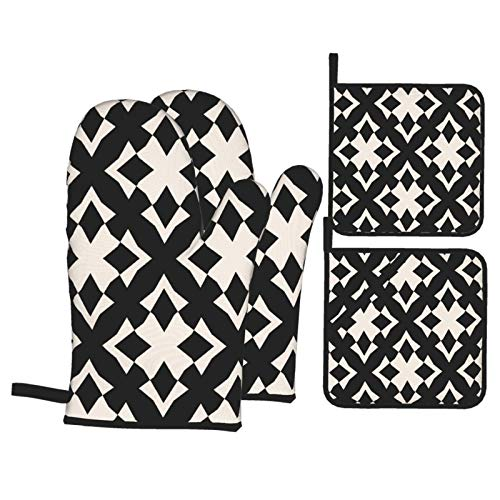 Oven Mitts and Pot Holders Sets of 4,Raster Abstract Black And White Geometric Ornament With Shapes,rhombuses,BBQ Gloves with Quilted Liner Resistant Hot Pads for Kitchen Cooking Baking Grilling