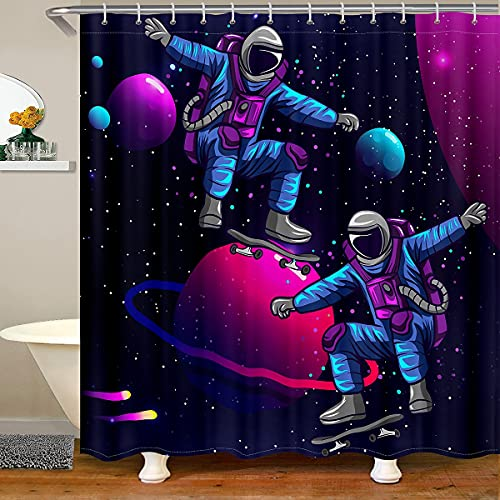 Astronaut Badezimmer Sets Skateboard Duschvorhang Weltraum Sport Badevorhang für Stall Badewannen Galaxy Sternenhimmel Kosmos Hip Hop Stoff Wasserdicht 180x200 (BxL)