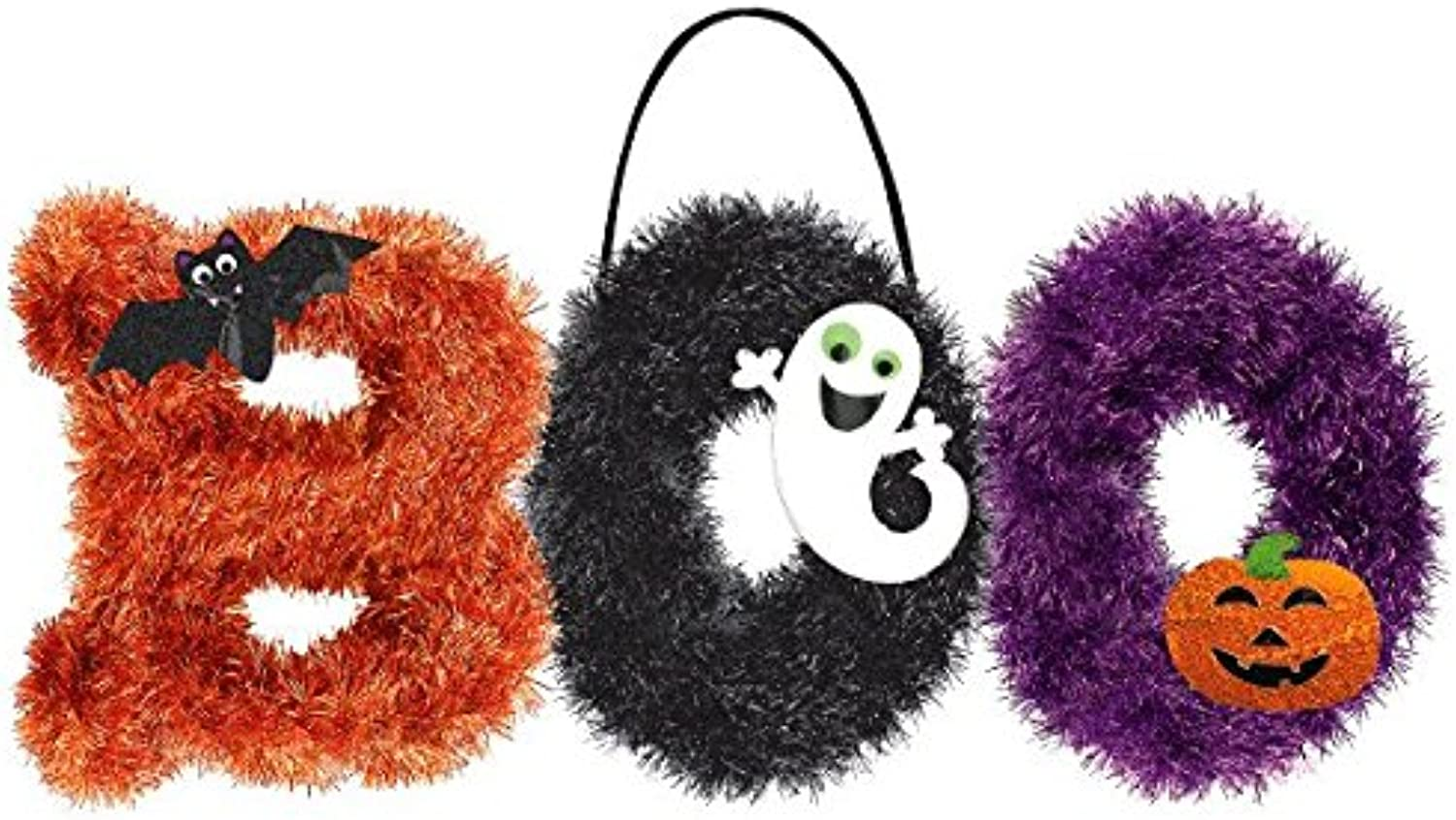 Tinsel  BOO  Deluxe Halloween Trick or Treat Fluffy Party Decoration, Plastic, 10 1 2  x 18 .