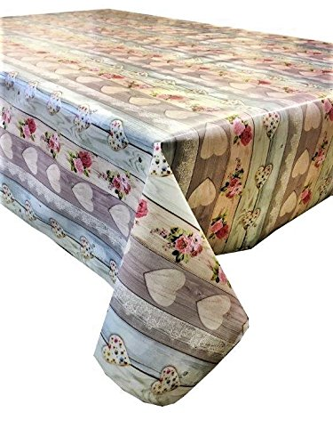 linen702 Vinyl pvc Tablecloth, 2 metres (200x137cm) Pink Roses and hearts on a grey/cream washed wood effect. 6 Seater Size oblong plastic table cloth, Wipe Clean, Textile Backed (235)