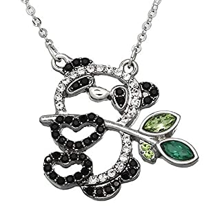DianaL Boutique Silver Tone Beautiful Panda Bear with Lucky Bamboo Pendant Necklace