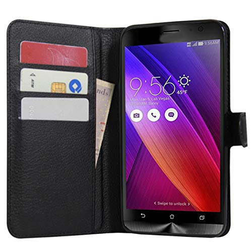 Zenfone 2 Hülle, HualuBro [All Aro& Schutz] Premium PU Leder Leather Wallet Handy Tasche Schutzhülle Hülle Flip Cover für Asus ZenFone 2 ZE551ML / ZE550ML 5,5 Zoll Smartphone - Schwarz