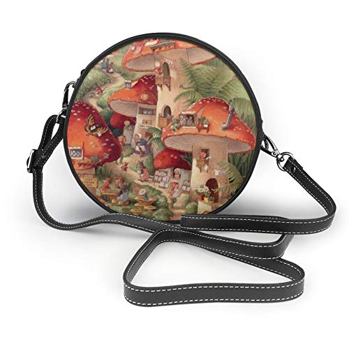 Women Crossbody Bags,Mushroom House And Rabbit Round Shoulder Bags Fashion Cross Body Bag Black Leather Circle Cross Body Purse for Ladies