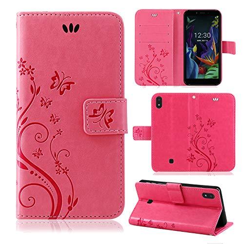 betterfon | LG K20 Hülle Flower Hülle Handytasche Schutzhülle Blumen Klapptasche Handyhülle Handy Schale für LG K20 Pink