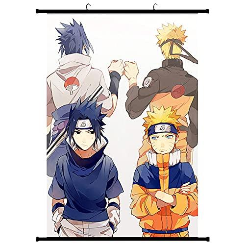 Naruto Poster,Hilloly Naruto Poster Wall Scroll,Anime Japonés Uzumaki Naruto Uchiha Sasuke Póster de Pared Cuadro de Pintura Lienzo Colgante Pintura de Desplazamiento Home Wall Print,40x60cm