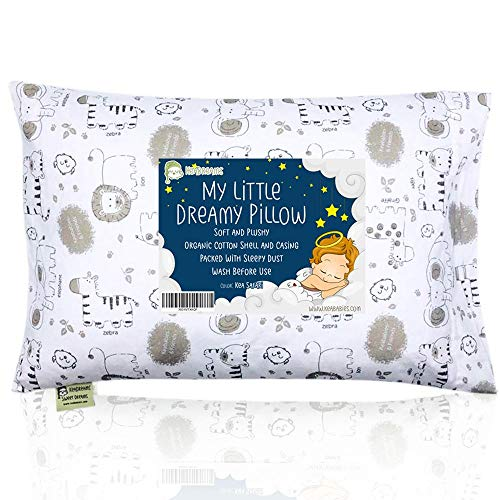 Toddler Pillow with Pillowcase - 13X18 Soft Organic Cotton Baby Pillows for Sleeping - Machine Washable - Toddlers, Kids, Boy, Girl - Perfect for Travel, Toddler Cot, Bed Set (KeaSafari)