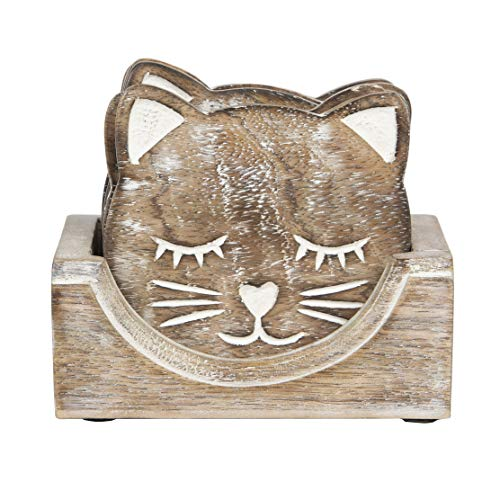 Sass & Belle Wooden Carved Cat Coaster Set of 6 [Importación
