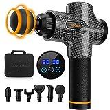 Pistola de masaje muscular eléctrica con 30 velocidades, 6 cabezales de masaje, pantalla lcd táctil, pistola de masaje (negro carbón)