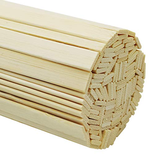 Worown 120 pcs 14 Inch Strong Natural Bamboo Sticks, Wooden Craft Sticks, Extra Long Sticks, Wood Strips for Craft Projects, 3/8 Inch Width
